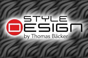Logo Style Design by Thomas Bäcker mit Wellenhintergrund