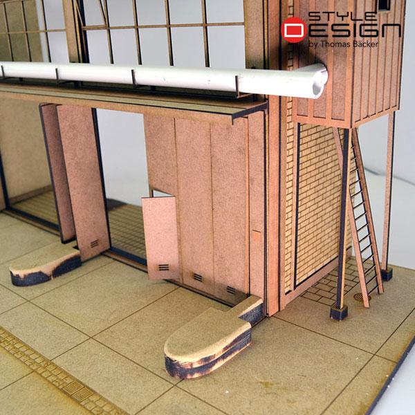 Fahrzeughalle unbemalt Detailansicht