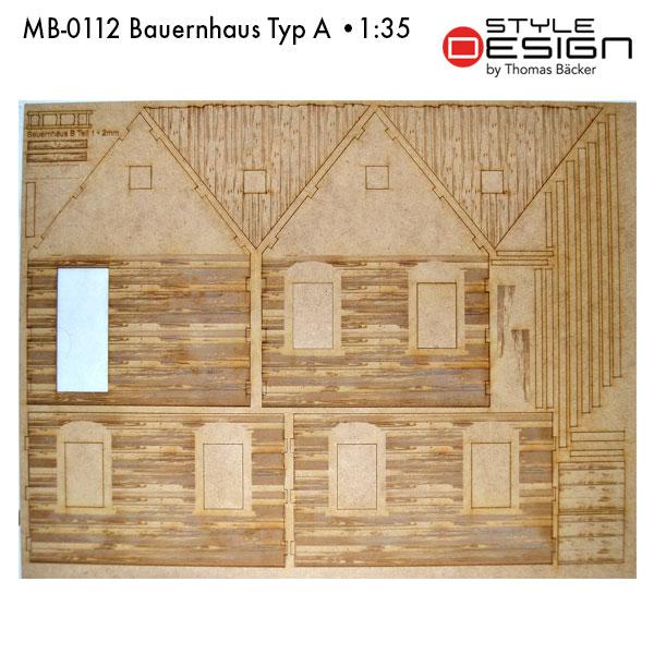 MB-0112-Bauernhaus-Typ-A Laserplatte Hausteile